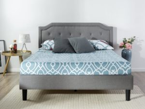 Zinus Upholstered Scalloped Button Tufted Platform Bed with Wooden Slat Support