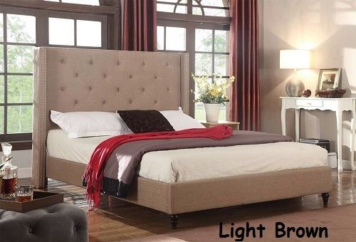 Full King Queen Twin Size Beds Platform Bed Upholstered Brown Headboard
