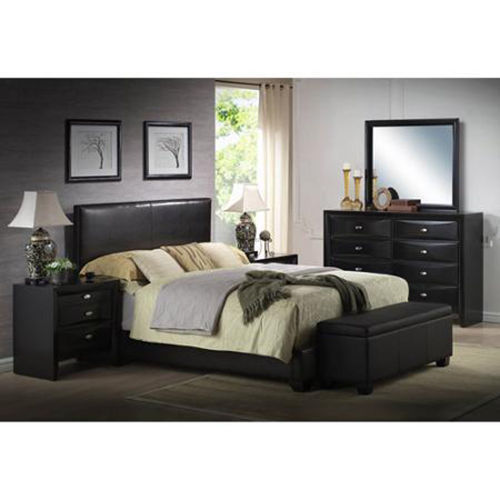 Upholstered Bed Frame w/Headboard Faux Leather Full Queen King Size Sizes