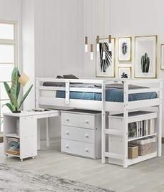 Loft bed low study twin