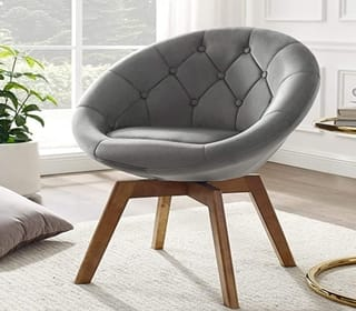 Volans Mid Century Modern Upholstered Accent Swivel