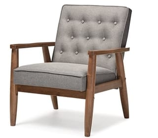 Baxton Studio Sorrento Upholstered Wooden Lounge Chair