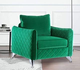 Altrobene Mid Century Velvet Accent Chair